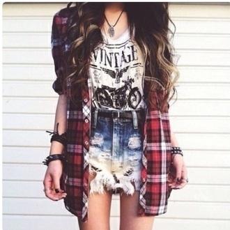 shirt grunge t-shirt grunge top grunge jewelry flannel shirt shorts