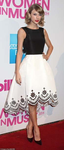 taylor swift oscar de la renta black and white laser cut dress