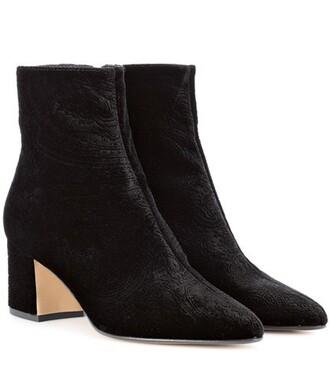 velvet ankle boots ankle boots velvet paisley black shoes