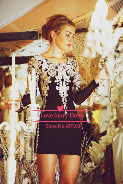 Aliexpress.com : buy dress party elegant scoop neck knee length short cocktail party dress appliques black prom dress with sleeves vestidos from reliable dress with net sleeves suppliers on suzhou lovestorydress co. , ltd