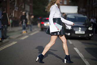 shoes blue boots bell sleeve top velvet boots velvet shoes velvet high heels boots ankle boots skirt boots black leather skirt leather skirt black skirt mini skirt shirt white shirt bell sleeves streetstyle fall outfits velvet ankle boots