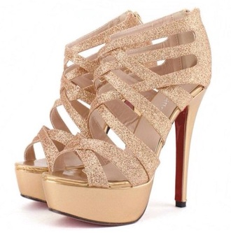 shoes gold glitter