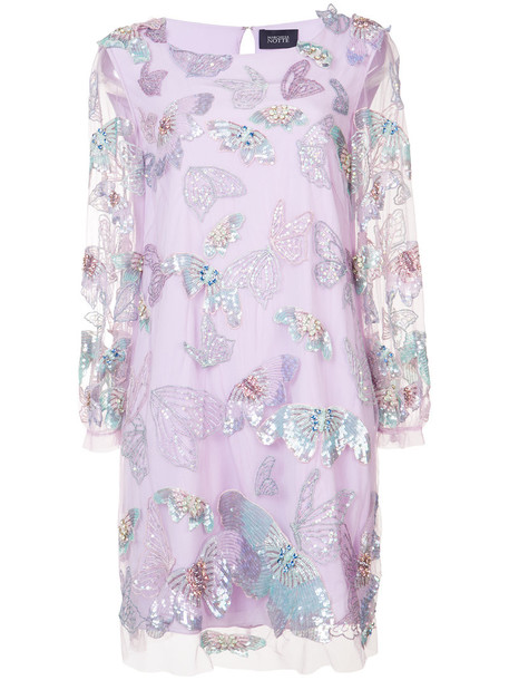 Marchesa Notte dress beaded dress women butterfly beaded purple pink