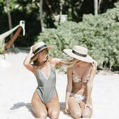 swimwear,tumblr,one piece swimsuit,v neck,plunge v neck,grey swimwear,bikini,bikini top,bikini bottoms,floral bikini,floral swimwear,hat,sun hat,straw hat