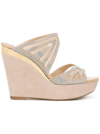 embellished mules nude shoes