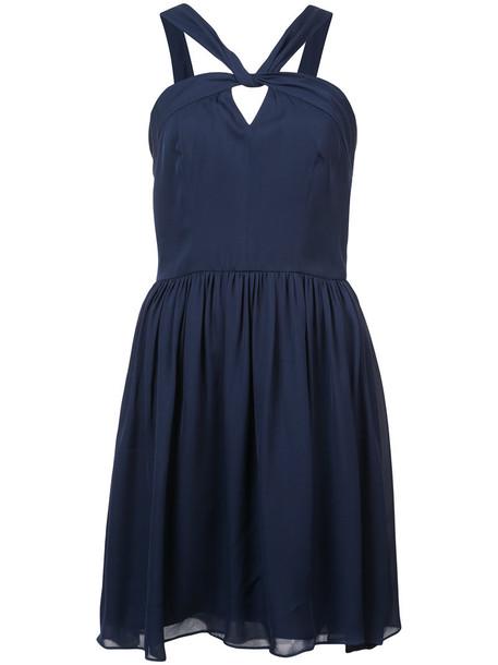 L'Agence dress strappy women blue silk