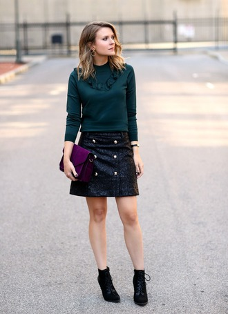 pennypincherfashion blogger shoes bag jewels blouse mini skirt ankle boots boots winter date night outfit green top ruffled top ruffle black leather skirt leather skirt hoop earrings earrings