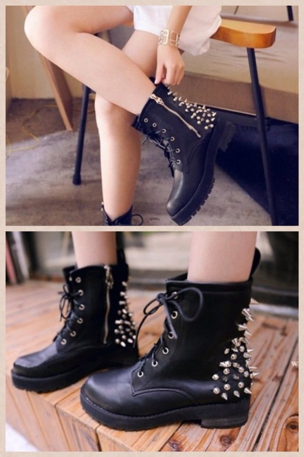 shoes black boots combat spiked