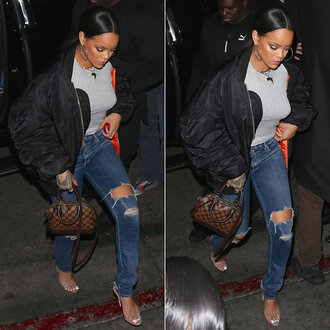 jeans sandals jacket rihanna ripped jeans bomber jacket