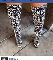 shoes,black and white,peek toe boots,boots,thigh high boots,lace up,tribal pattern,winter boots,winter swag,high heels