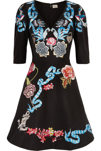 dress mini dress mini sailor embroidered cotton black silk