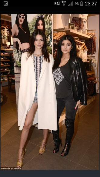 coat kendall jenner duster coat kylie jenner fashion white coat
