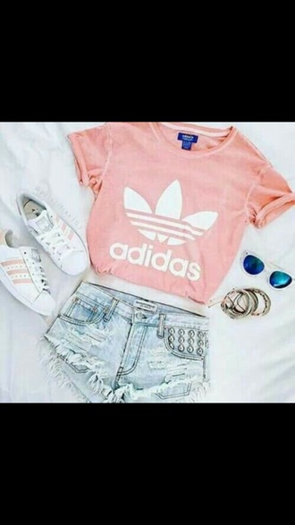 shirt pink adidas cute love lovely shorts shoes grey color/pattern colorful