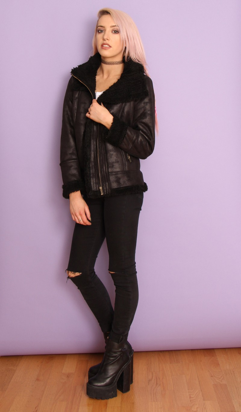 Blondedge » primark new with tags faux shearling biker jacket