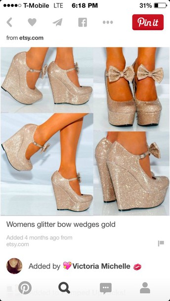 shoes gold wedges with bow
