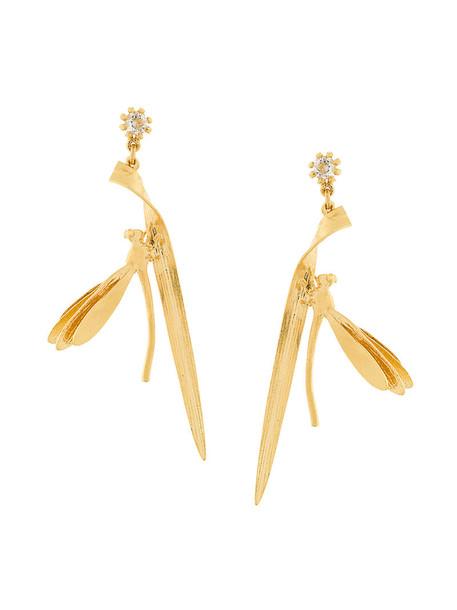 Alex Monroe metal women earrings gold grey metallic jewels