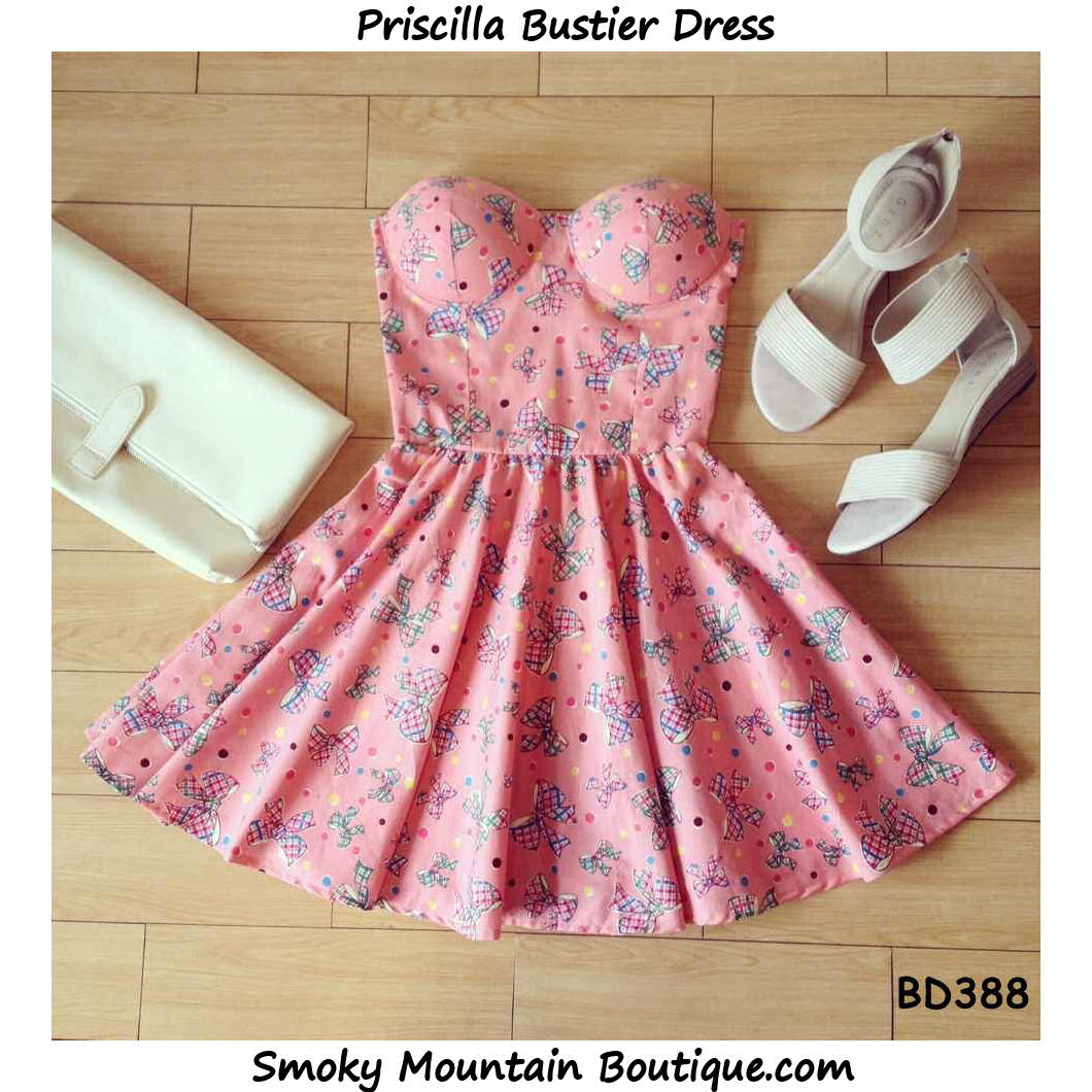 Priscilla bustier dress with adjustable straps (pink with bows pattern)