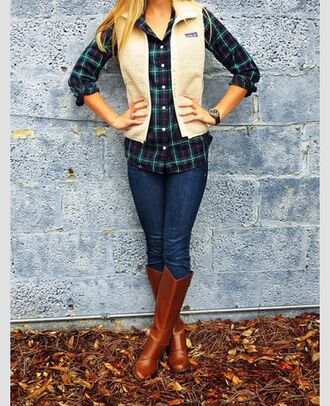 top sheepskin plaid fall outfits cozy chic patagonia vest wool riding boots skinny jeans brown leather boots shoes cardigan jeans