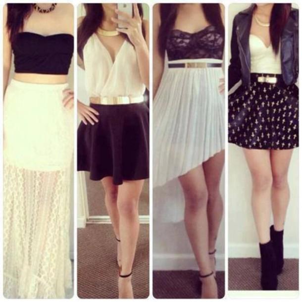 Shirt Bandeau Black Bandeau White Bandeau Skirt Dress Black