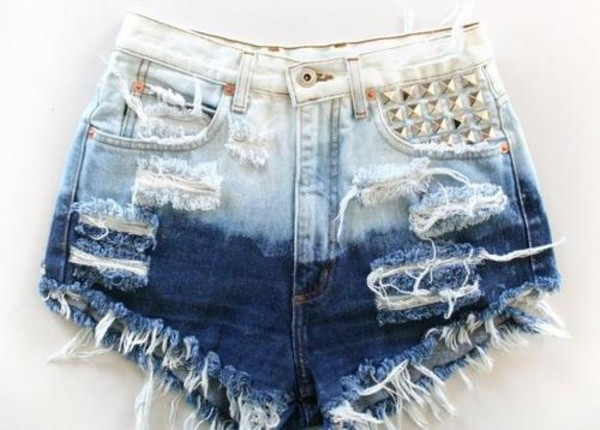 shorts cut off shorts distressed denim shorts studded shorts denim ombre bleach dye