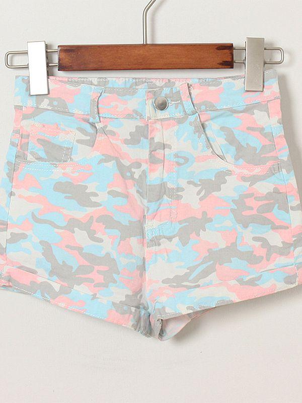 High waist print vintage button fly shorts : kisschic.com