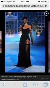 dress,black,gown,victoria's secret,rihanna,slit