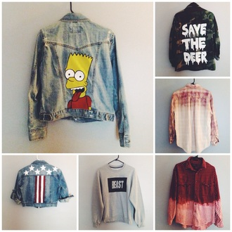 jacket the simpsons bart simpson camouflage levi's flannel crewneck style sweater tumblr outfit tumblr girl tumblr clothes oversized hipster indie grunge grunge t-shirt ombre bleach dye