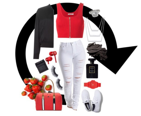 jeans white jeans denim ripped jeans highwaisted white jeans red red shirt crop tops crop cropped zip bomber jacket black jacket accessories tommy hilfiger handbag vans white white shoes keds outfit