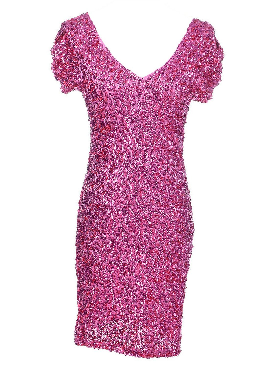 Kaci s/m fit barbie pink all over sequin shiny v neck ruffle mini s/s dress at amazon women's clothing store: