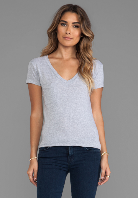 LA MADE Tissue Jersey V Pocket Tee in Heather Grey at Revolve Clothing - Free Shipping!