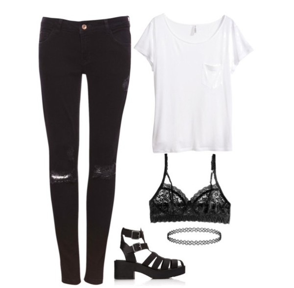 jeans top black jeans skinny jeans underwear shoes shirt
