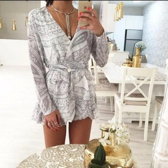 romper grey and white jumpsuit white black intagram tumblr dress cute dress white romper cute rompers