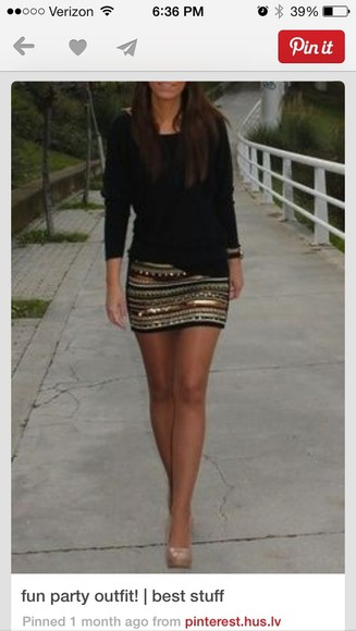 skirt striped skirt gold beaded creme bronze