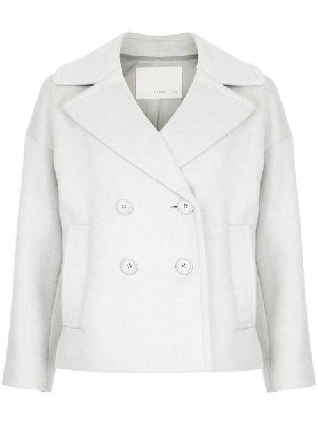 Estnation coat short double breasted women cotton wool grey