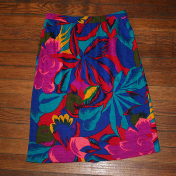 Womens Vintage HIGH WAIST 80s MULTICOLOR Floral mini  Skirt / Festival mini Skirt on Wanelo