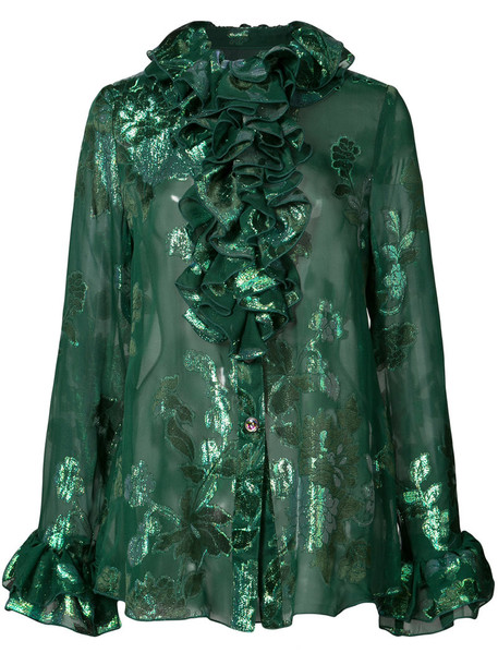 Anna Sui shirt metallic ruffle women floral print silk green top