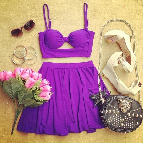 dress purple dress summer dress summer outfits cute dress bag jewels shoes