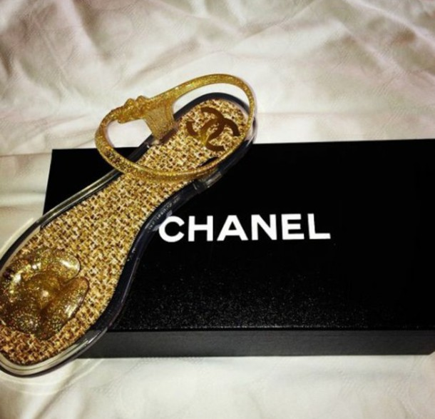 shoes chanel sandals gold sequins double c