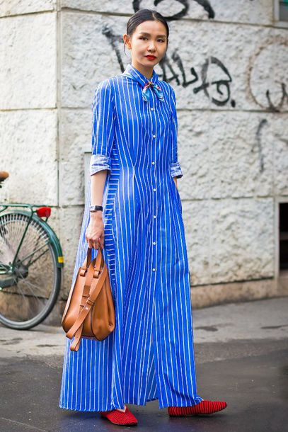 f38f810ac21 dress maxi dress long dress blue dress stripes striped dress shoes flats  bag leather bag streetstyle