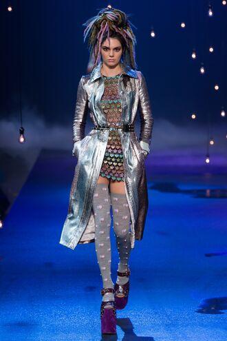 coat silver metallic mini dress kendall jenner tights marc jacobs ny fashion week 2016 fashion week 2016