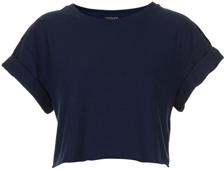 20cbca664c1e Topshop Roll Back Crop Tee in Blue (navy blue)