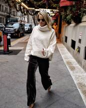 pants,black velvet pants,high heel pumps,white sweater,turtleneck sweater,oversized turtleneck sweater,sunglasses