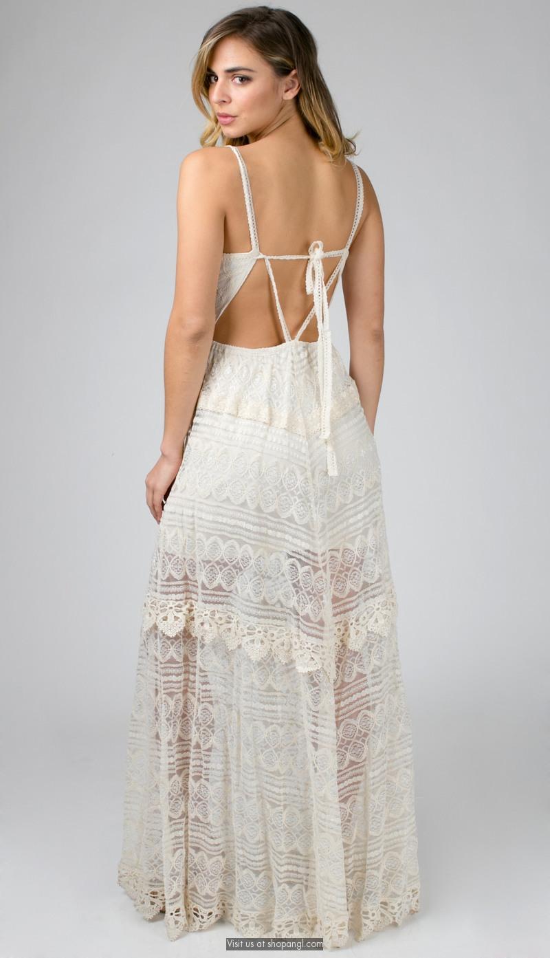 Romantic lace tie back dress