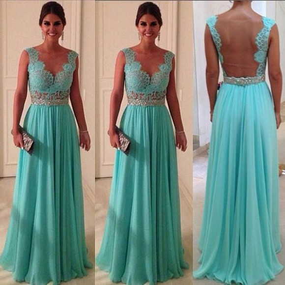 dress tiffanyblue blue lace dress prom lowback vneck aqua bridesmaid open back clothes fashion evening dress goingout outweare blue dress lace blue, tiffany and co blue aqua