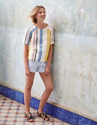 top linen linen top striped top multicolor shorts blue shorts sandals flat sandals black sandals summer outfits