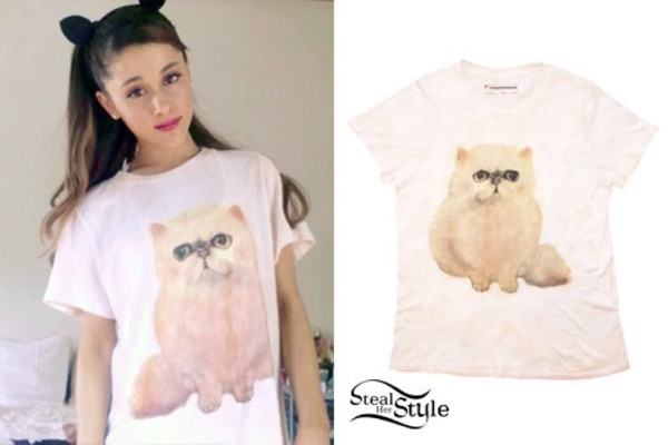 blouse cats ariana grande t-shirt shirt ariana grande cats pink cat shirt cute cats kityykat katter meow ariana grande grande ariana grande butera cats