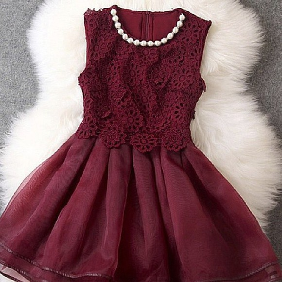 dress lace dress pearl skater dress burgundy dress maroon