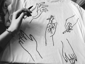 t-shirt graphic tee hand cigarette white shirt