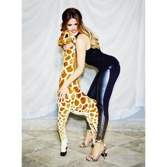 paneled leather pants leggings khloe kardashian zipper black friday cyber monday stuffed animal