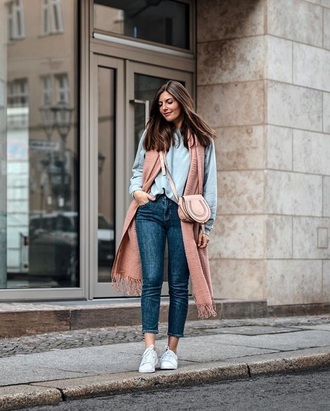 scarf pink scarf blue jeans sweatshirt blue top top bag jeans denim sneakers white sneakers